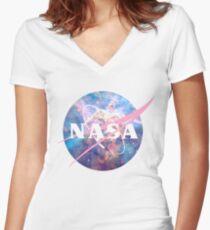 Pastel Nebula Nasa Logo Women's Fitted V-Neck T-Shirt
