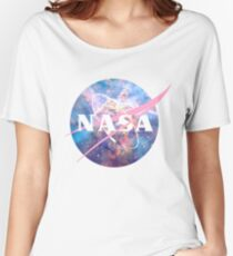 Pastel Nebula Nasa Logo Women's Relaxed Fit T-Shirt