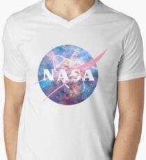 Pastel Nebula Nasa Logo Men's V-Neck T-Shirt
