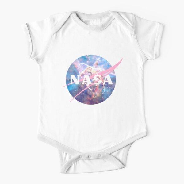 Pastel Nebula Nasa Logo Short Sleeve Baby One-Piece