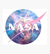 Pastel Nebula Nasa Logo Photographic Print