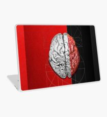 Dualities - Half-Silver Human Brain on Red and Black Canvas Laptop Skin