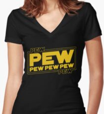 Star Wars Pew Pew! Women's Fitted V-Neck T-Shirt