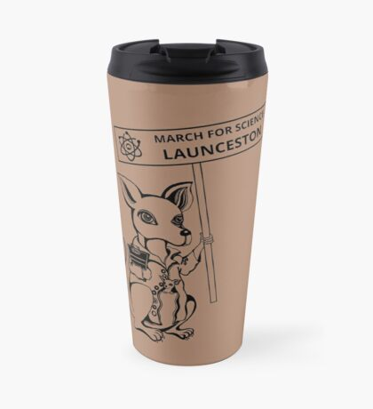 March for Science Launceston – Kangaroo, black Travel Mug