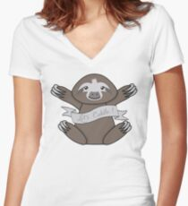 Lets cuddle with a cute little sloth Women's Fitted V-Neck T-Shirt