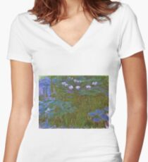 Claude Monet - Water Lilies Women's Fitted V-Neck T-Shirt