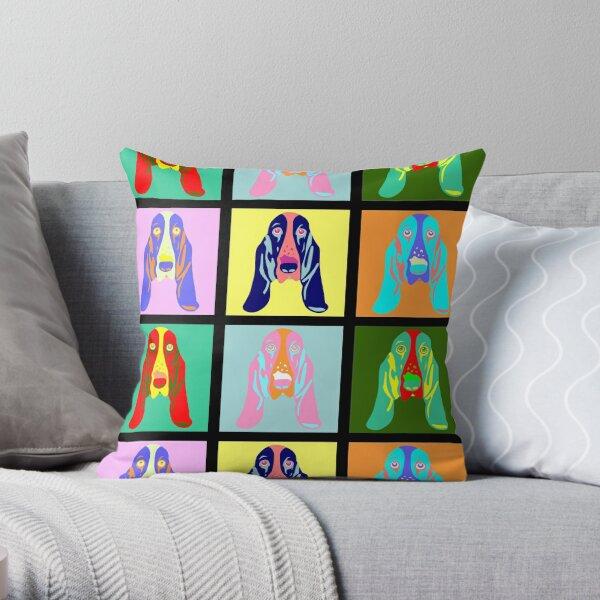 Basset Hound Pop Art Throw Pillow