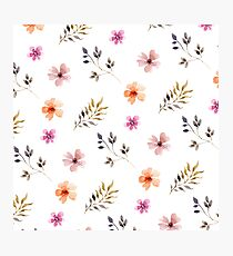 Watercolor Spring Floral Pattern Photographic Print