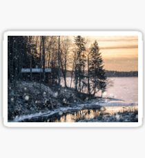 Morning light with snow flakes Sticker