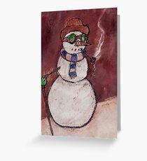 Steampunk Snowman Greeting Card