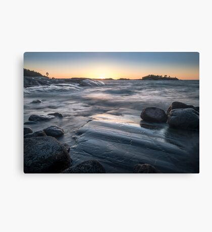 Windy seascape with sunset Canvas Print