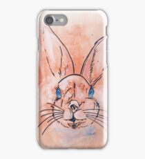 Pretty  pink watercolor rabbit hand paint iPhone Case/Skin