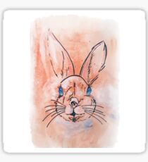 Pretty  pink watercolor rabbit hand paint Sticker