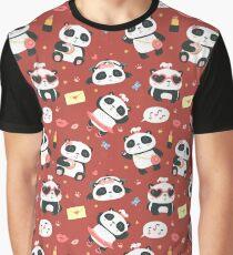 cartoon style cute girl panda red pattern Graphic T-Shirt