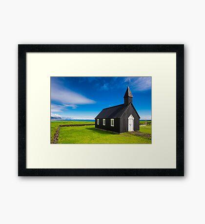 Budir black church in Iceland Framed Print