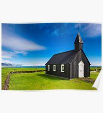 Budir black church in Iceland Poster