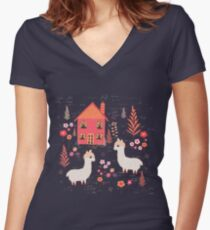 Mountain Chalet Alpacas Women's Fitted V-Neck T-Shirt