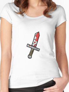 cartoon bloody sword Women's Fitted Scoop T-Shirt