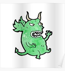 cartoon funny little monster Poster