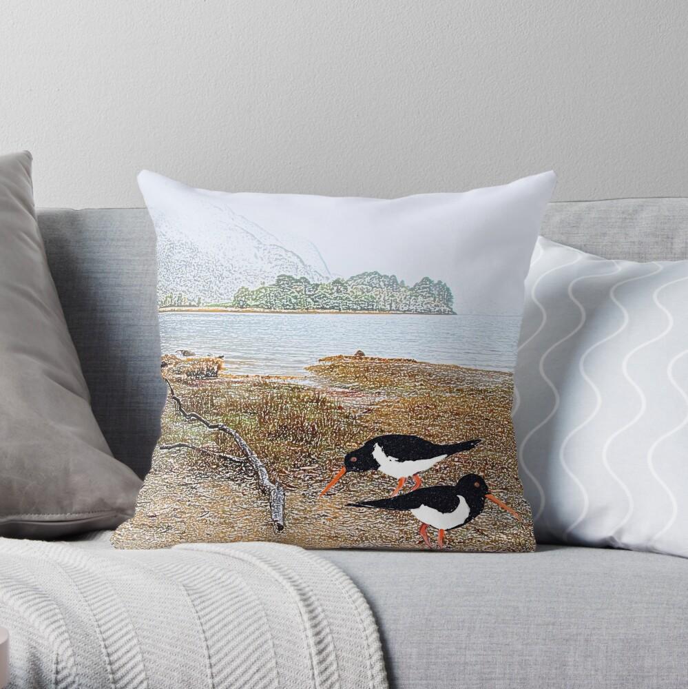Oyster catchers Throw Pillow