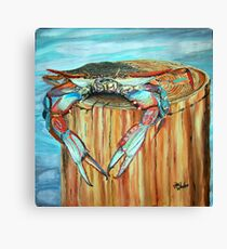 Blue Crab on Piling Canvas Print