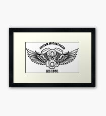 Custom Motorcycle workshop Emblem Framed Print