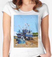 Fresh Fish and Seagulls Women's Fitted Scoop T-Shirt