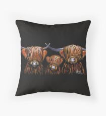 Scottish Highland Cows ' The Tangerines ' by Shirley MacArthur Throw Pillow