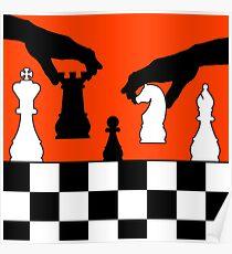 playing chess game white black Poster