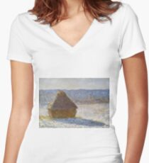 Claude Monet - Grainstack In The Morning, Snow Effect, 1891 Women's Fitted V-Neck T-Shirt