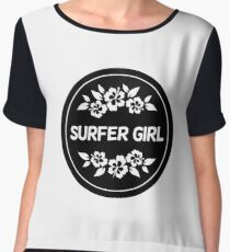 Surfer Girl Black - Floral - Island Surf - Surfing Fanatic Gift Chiffon Top