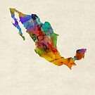 Mexico Watercolor Map by Michael Tompsett