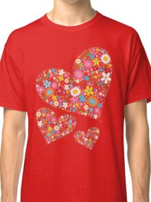 Whimsical Spring Flowers Valentine Hearts Trio Classic T-Shirt