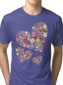 Whimsical Spring Flowers Valentine Hearts Trio Tri-blend T-Shirt