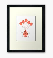 Little Monsters With Balloons Framed Print
