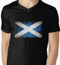 Vintage Schottland Flagge T-Shirt mit V-Ausschnitt