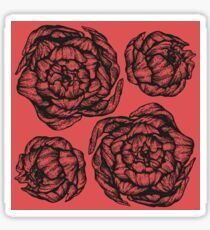 peony graphic, pion, floral, design, flower, illustration, pattern red Sticker