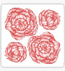 peony graphic floral, design, flower, illustration, pattern red Sticker