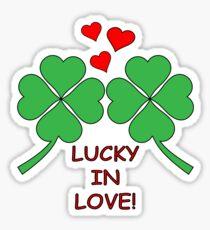 Lucky In Love Hearts Clover Sticker