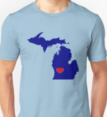 Michigan with Heart Location Unisex T-Shirt