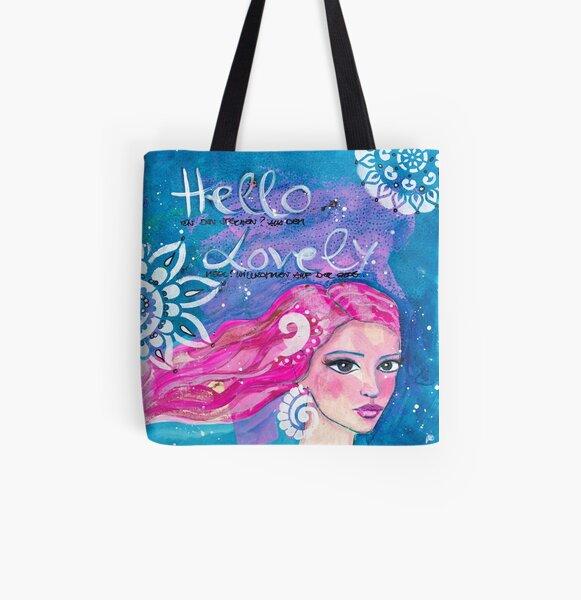 Hello Lovely Allover-Print Tote Bag