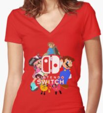 Nintendo Switch Women's Fitted V-Neck T-Shirt