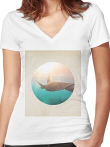 Graceful turtle - porthole paper design Women's Fitted V-Neck T-Shirt