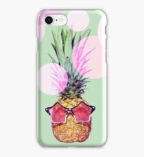 Trendy pineapple with pink sunglasses iPhone Case/Skin