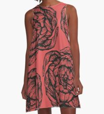 peony graphic, pion, floral, design, flower, illustration, pattern red A-Line Dress