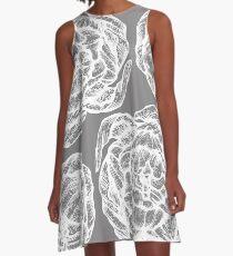 peony graphic line pattern grey A-Line Dress