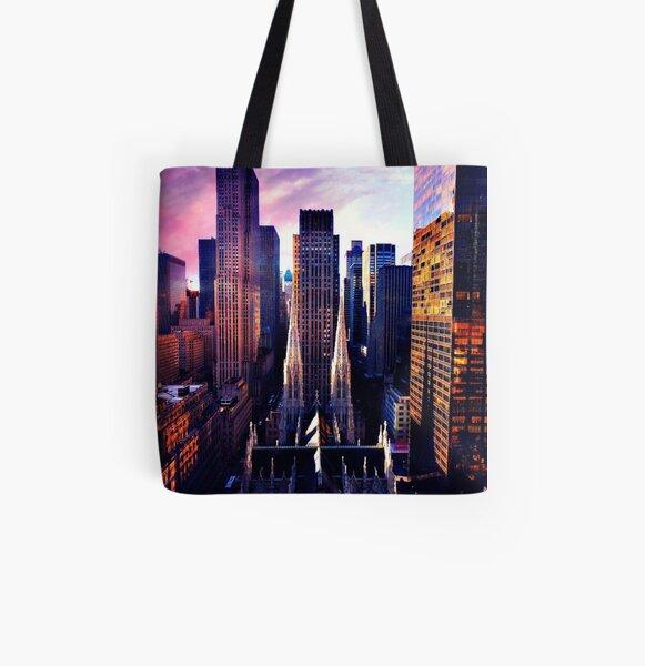 St. Patrick's Cathedral & Rockefeller Center All Over Print Tote Bag