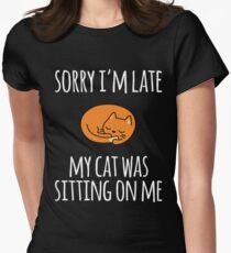 Sorry I Can't My Cat Was Sitting On Me Women's Fitted T-Shirt