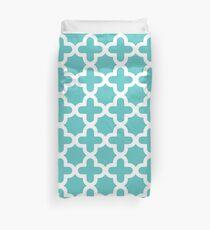 Turquoise & White, Quatrefoil Pattern Duvet Cover