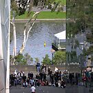 The Busker on the banks Yarra River  Melbourne by Virginia McGowan